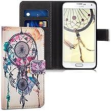 kwmobile Funda para Samsung Galaxy S5 / S5 Neo / S5 LTE+ / S5 Duos - Wallet Case plegable de cuero sintético - Cover con tapa tarjetero y soporte Diseño atrapasueños desdibujado en multicolor azul blanco