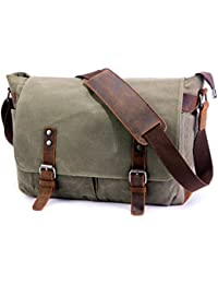 a3d30a2cf0 SUVOM Mens Canvas Laptop Messenger Bag Leather Crossbody Shoulder School  Satchel-14 Inch