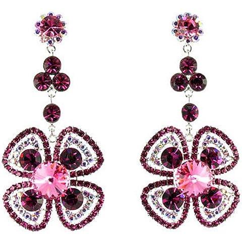 Fiore placcato in argento rosa e strass orecchini - Orecchini Strass Clip Ons