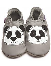 df90f5b15a98 Inch Blue Girls Boys Luxury Leather Soft Sole Pram Shoes - Panda Grey