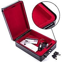 Caja portátil de alta seguridad con llave de ProPlus. 15x 21x 5,5cm. Caja de caudales, caja fuerte negra para caravana y autocaravana.