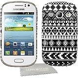 StyleBitz Coque rigide avec motif géométrique pour Samsung Galaxy Fame / S6810 Avec protection d'écran et tissu de nettoyage de nettoyage (Noir/blanc)