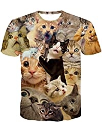 LuckyGirls Camisetas Hombre 3D Originales Manga Corta Verano Estampado de  Gato Polos Personalidad Casual Deporte Camisas d5b346a3fbe38