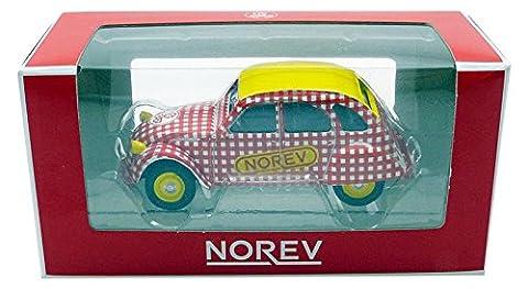Norev - 310601 - Véhicule Miniature - Citroen 2 CV 6 Special 1980 Saucisson Cycliste, Rouge/Blanc/Jaune, Echelle 1/64