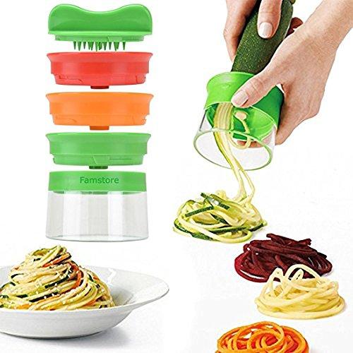 Spiralschneider, 3-Klingen Gemüse Spiralschneider mit dem man endlos Spaghetti Nudeln fertigen kann, Gemüseschneider und Zerkleinerer