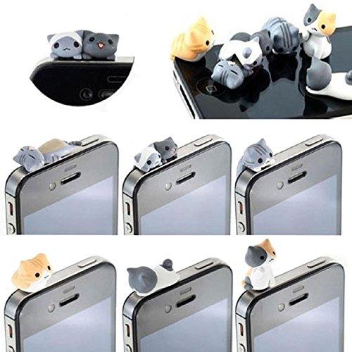 Malloom 6pcs 3.5mm Cheese gato anti del polvo de Gato del auricular del casquillo del tapón del enchufe para iphone