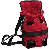 Kaka mall Haustier Rucksäcke Hundetragetasche Hund Katze Transporttasche Carrier fünf Löcher Rucksack vorne Brust Rucksack(M,Rot)