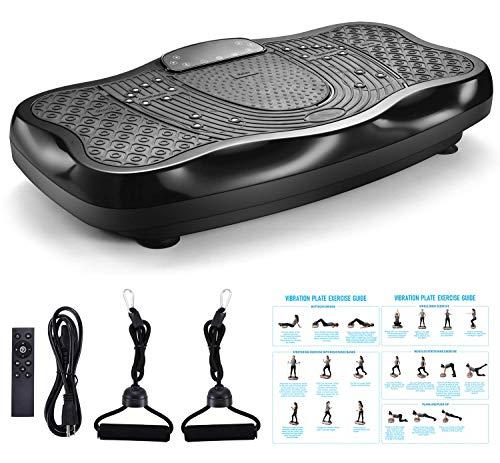 FITODO Plataforma Vibratoria para el Cuerpo Que Adelgaza——Control Remoto Inalámbrico/Altavoz Bluetooth/Bandas de Resistencia/99 Niveles de Velocidad (Carga Máxima 330 lbs,Negro)