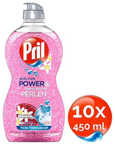 Pril Anti-Fett Power & mineralische Perlen, Granatapfel & Orangenblüte, Spülmittel, 10er Pack (10 x 450 ml)
