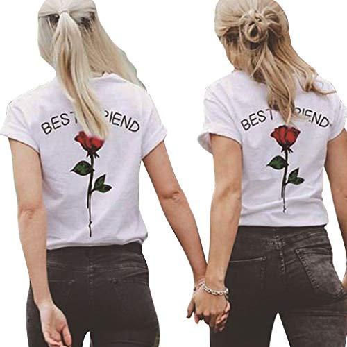 Siennaa Beste Freunde T-Shirts für Zwei Junge Mädchen, Damen Best Friends Rose Gedruckt Sommer Shirt Sport Casual Tops Frauen Elegante Kurzarm Oberteil Bluse Hemd T-Shirt Pullover (Rot, M)