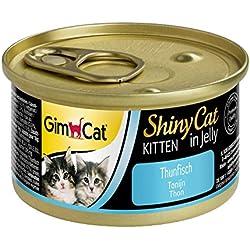 GimCat ShinyCat in Jelly Kitten – Aliment pour chats avec des petits morceaux ajoutés en gelée, pour jeunes chats à partir de 8semaines – Sans sucre ajouté – Thon – 24 boîtes (24 x 70g)