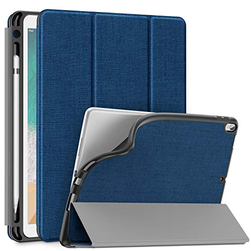 Infiland iPad Air 10,5 Zoll (3. Generation) 2019/ iPad Pro 10,5 Hülle mit Pencil Halter, Ultra Schlank Ständer Schutzhülle Case Tasche mit Auto Schlaf/Wach für iPad Air 3/10,5 iPad Pro, Dunkleblau