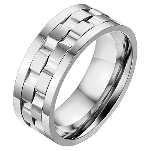 OIDEA Herren Edelstahl Ring drehen Silber, 9mm Polished Verlobungsringe Trauringe, Größe 54 (17.2) bis 74 (23.6) (74 (23.6))