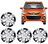 #6: Auto Pearl Premium Quality Car Tyre Wheel Hub Caps/Cover Black & Silver Set of 4 pcs. For 13