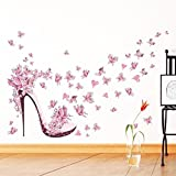 Gemini_mall® Pink Butterfly High Heels Wall Art Sticker Door Stairs Living Room Bedroom Decor Woman Teenager Baby Girl Kid Children Nursery Decal Wall Mural Poster Wallpaper