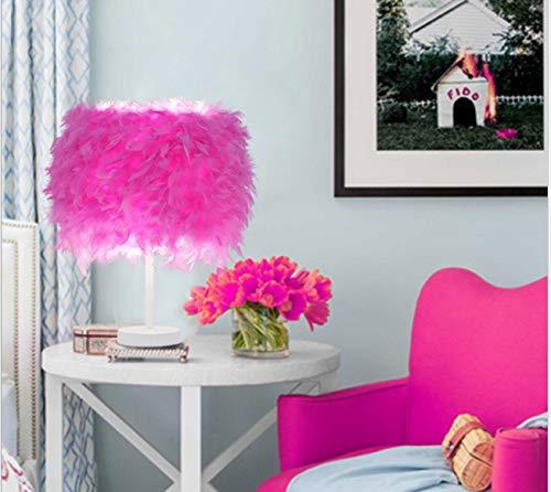 Dormitorio junto a la cama del hotel Boutique hotel botón de atenuación LED polo blanco lámpara de mesa de plumas 47 cm de alto