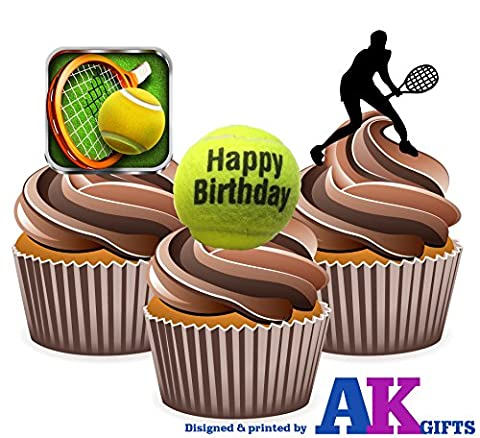 Happy Birthday F Balle de Tennis Motif Silhouette de joueur