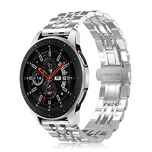 Fintie Armband kompatibel für Galaxy Watch 46mm / Gear S3 Frontier/Gear S3 Classic/Huawei Watch 2 Classic Smart Watch - 22mm Uhrenarmband Edelstahl Metall Ersatzband, (Silber Plus)