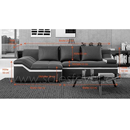 Polster-Ecke mit Schlaffunktion schwarz / weiß 235x133 cm L-Form | Nodobi-L | Sofa-Garnitur aus Kunstleder mit Recamiere links | Eck-Couch ausziehbar für Wohnzimmer schwarz / weiss 235 x 133cm - 6