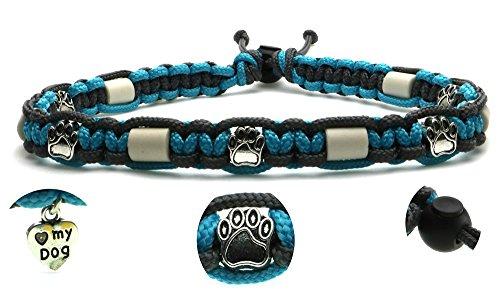 Zeckenschutzhalsband (39cm - 49cm) - EM Keramik Halsband Schutz gegen Zecken und Ungeziefer, 100 % Natur aus Paracord geknüpft mit stylischen Schmuckelementen, für Hunde und Katzen. Türkis/Grau Nr. 1