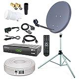 HB-DIGITAL Sat-Komplett-Set: Mini Sat Anlage 40cm Schüssel Anthrazit + LNB 0,1 + 10m Kabel + Receiver + Alu Stativ 150cm für HDTV geeignet