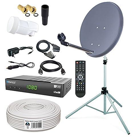 HB-DIGITAL Sat-Komplett-Set: Mini Sat Anlage 40cm Schüssel Anthrazit + LNB 0,1 + 10m Kabel + Receiver + Stahl Stativ 120cm für HDTV