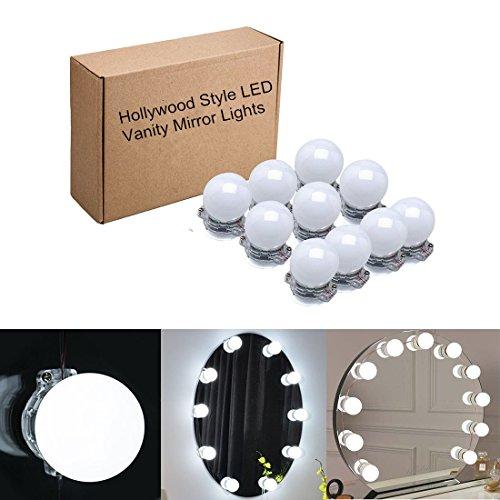 Hollywood-Stil LED Spiegelleuchte,10 Dimmbare LED Kugellampe Kit 6500k weiß Beleuchtung mit 12V Netzteil,Set für Kosmetikspiegel / Schminkspiegel / Frisierkommode / Frisiertisch / Kosmetiktisch ,Spiegel nicht - Wand Beleuchtete Make-up-spiegel