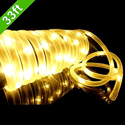 MeiKee 100 Leds Solar Rope Lights, 33ft, Warm White,Outdoor Waterproof LED Solar Rope Lights ,Christmas Lights, Ideal for Decorations, Christmas,Gardens, Lawn, Patio, Weddings, Parties.[Energy Class A+]