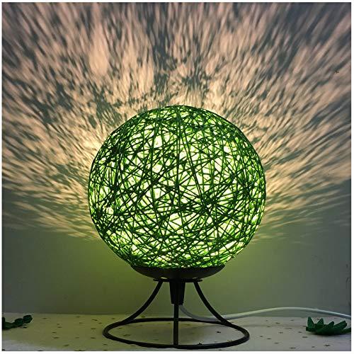 Einfache Leinen Nachtlicht Schlafzimmer Nachttischlampe Wohnzimmer Tischlampe grün Eisenrahmen USB-Taste Schalter monochrom warmes Licht -