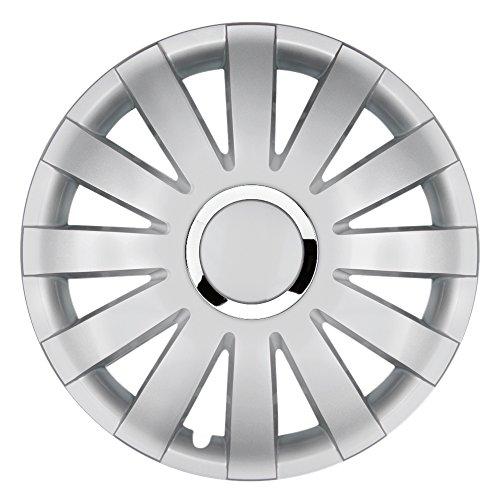 CM DESIGN 15 Zoll Radzierblenden Onyx Silver (Silber mit Chromring). Radkappen passend für Fast alle OPEL wie z.B. Corsa D
