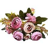 Koperras Fleurs Artificielles,Fausse Fleur, Bouquet De Pivoine, Artificiel Mariage Pivoine Bouquet avec 5TêTe Simulation Soie Fleur pour Maison FêTe Mariage Table DéCor