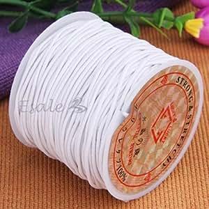 FACILLA® Rouleau Cordon Ruban Ficelle En Elastique 1mm Blanc Longueur 22m