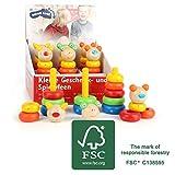 small foot 11022 Stapelturm Tierisch aus Holz, FSC 100%-Zertifiziert, 9-TLG. Set im farbenfrohen Design, mit verschiedengroßen, bunten Steckringen, fördert die Motorik, toller Steck-Spaß für Kinder ab 12 Monate Spielzeug, Mehrfarbig