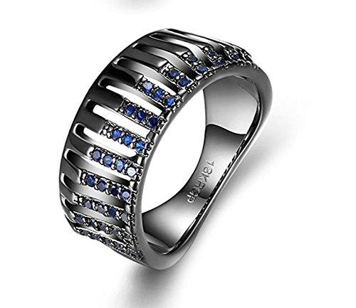 (Adisaer Ring Damen Edelstahl Ring Damen Gold Titanring Edelstahl Damen Ring 14K Vergoldet Schwarz Hohl Linien Strass Blau Größe 60 (19.1) Valentinstag Süß Ring Für Liebe)