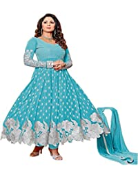 Sky Blue Georgette Embroidered Semi Stitched Salwar With Dupatta