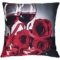 "Funda de almohada, hmlai día de San Valentín vino cristal impresión fundas de almohada poliéster sofá coche cojín cubierta decoración del hogar, 18""x18"", B"