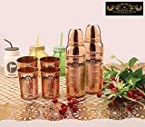 #9: Crockery wala and Company Two Luxury Copper Thermos Bottles with Four Pure Copper Glass Tumblers, perfect set of Drink ware for Kitchen, Handmade products for Ayurvedic Health Benefits