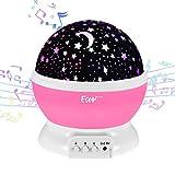 Esonstyle Wiederaufladbare 360 Grad Drehende Nachtlicht Projektor Baby Musical Mond und Himmel Licht mit 12Licht Musik für Baby Zimmer, Schlafzimmer, Kinderzimmer, Halloween, Weihnachten(Rosa)