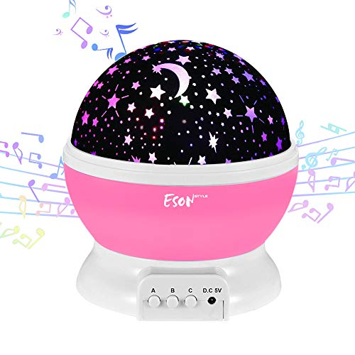 (Esonstyle Wiederaufladbare 360 Grad Drehende Nachtlicht Projektor Baby Musical Mond und Himmel Licht mit 12Licht Musik für Baby Zimmer, Schlafzimmer, Kinderzimmer, Halloween, Weihnachten(Rosa))