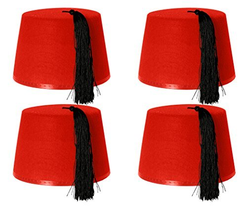 Fez Kostüm Rote (FEZ, 4 STÜCK, ROT)