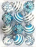 Queens of Christmas wl-orn-12pk-sfln-aq Ball Ornament mit Schneeflocke und Line Glitzer Design, Aqua/weiß