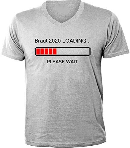 Mister Merchandise Herren Men V-Ausschnitt T-Shirt Braut 2020 Loading Tee Shirt Neck bedruckt Grau