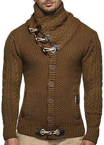 LEIF NELSON Herren Strickjacke Pullover Hoodie Jacke Sweatjacke Sweatshirt Sweater Pulli Winterjacke Freizeitjacke LN4195 (Small, Camel)