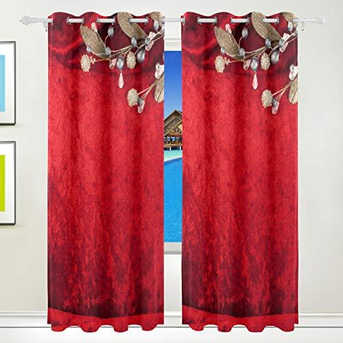 XiangHeFu Schöne Einrichtung Verdunklungsvorhänge mit Tülle Top Hochzeit Einladung rot Flower Vorhänge Set von 2Platten, je 55W x 84L Zoll für Home Wohnzimmer Schlafzimmer Büro