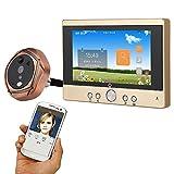 Mountainone - Mirigilla digital, 720P, wifi, inalámbrica, para mirilla de 5 pulgadas de puerta de entrada, cámara, timbre con telefonillo o toma de foto o vídeo