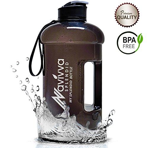 Water Jug, Schwarz, Water Bottle 2.2L, Tritan Bottle, Big Bottle 2,2L, WasserFlasche 2.2L, Große WaterFlasche, TrinkFlasche, BPA Frei, WaterKanister, SportFlasche von NAVIVVA SPLENDID - Große Sport Jug