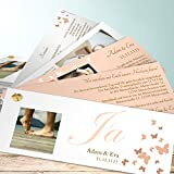 Hochzeitskarten Einladung, Du, nur Du 200 Karten, Kartenfächer 210x80 inkl. weißer Umschläge, Orange