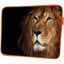 """snoogg roi lion 30,5cm Étui à rabat pour Kindle à 31,8cm """"à 32cm"""" Sacoche Housse Coque souple Housse de transport pour MacBook Pro pour ordinateur portable ACER ASUS HP Dell Sony Toshiba Lion King Designer Orange"""