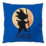 style3 Young Goku Kissen mit Füllung 28 x 28 cm Baumwollbezug, Farbe:Blau