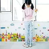 Wallpark Karikatur Bunt Stadt Klein Haus Schloss Fußleiste Abnehmbare Wandsticker Wandtattoo, Kinder Kids Baby Hause Zimmer Kinderzimmer DIY Dekorativ Klebstoff Kunst Wandaufkleber